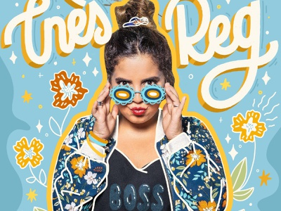 Ines reg sunglasses flowers girl power boss cover artist comedy letter calligraphy hand lettered hand drawn hand lettering design type lettering illustration typography