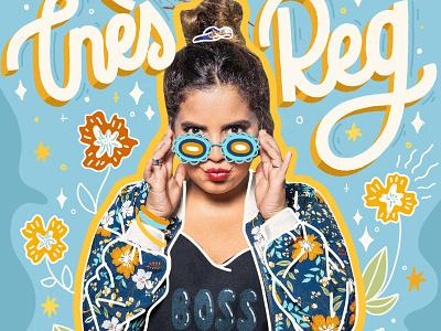 Ines reg sunglasses flowers girl power boss cover artist comedy letter calligraphy hand lettered hand drawn hand lettering design type lettering illustration typography