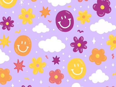 Happies clouds colors bubbles flowers smiley face smiley illustrate design type illustration typography