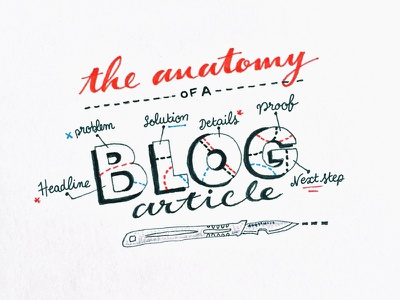 Anatomy Of A Blog Article hand lettering brushtype calligraphy type blog illustration typography scalpel anatomy