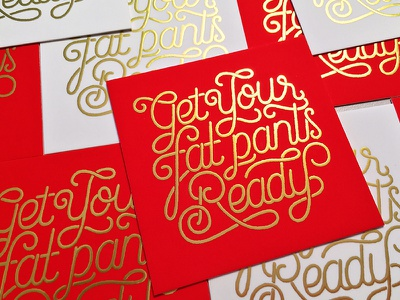 Fat pants funny fat pants shiny foil cookies santa illustration typography holidays christmas hand lettering gold type