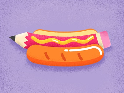 Hot Drawg ! design yummy love foodie food mustard print pin patch pencil hot dog illustration