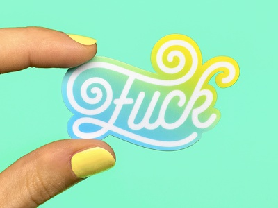 Fuck Stickers stickermule stickers fuck pencil illustration design insult typography lettering color vector type