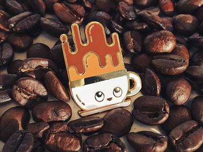 Coffee Buddy Pin enamel pin pins emaille coffee addict design kawaii gold happy cute love coffee buddy coffee pin