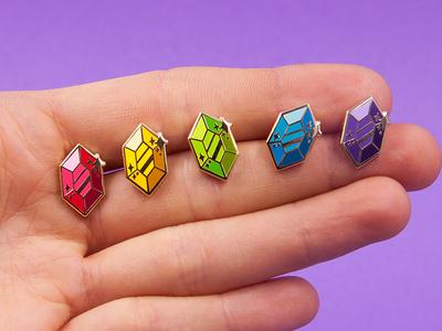 Gem Pins zelda gem rupee jewels stickers shiny illustration vector ocarina of time stars ruby emerald