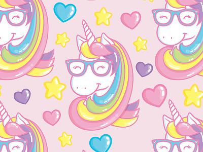 Geeky Unicorn stars hearts licorne magical vector cute kawaii star rainbow illustration unicorn geeky