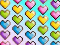 Rainbow Pixel Heart Pins