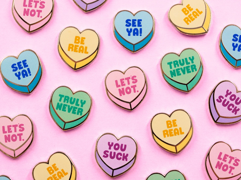 Anti Valentine hearts you suck heart candy hearts candy hate valentine day love enamel pin illustrator hand lettering design type lettering illustration typography