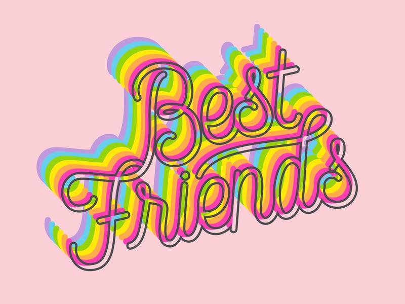 Best Friends bff love illustrator letter calligraphy vector type lettering illustration typography design friends best friends