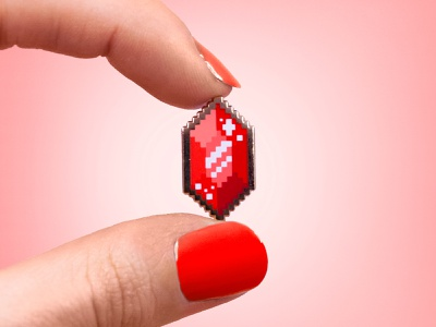 Pixel Gem Pin video game gaming breath of the wild pixelated pixel gem enamelpin vector pixel art rupee gem zelda pixel