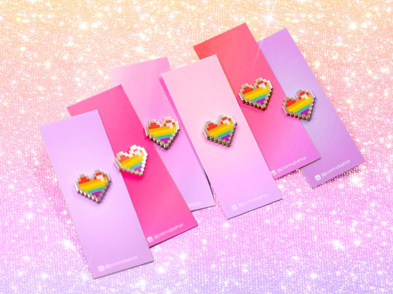 Pride Hearts gamers illustration vector pride month zelda enamel pin pink product 8bit pixelated gamer pixel heart rainbow proud gaypride queer gay pride