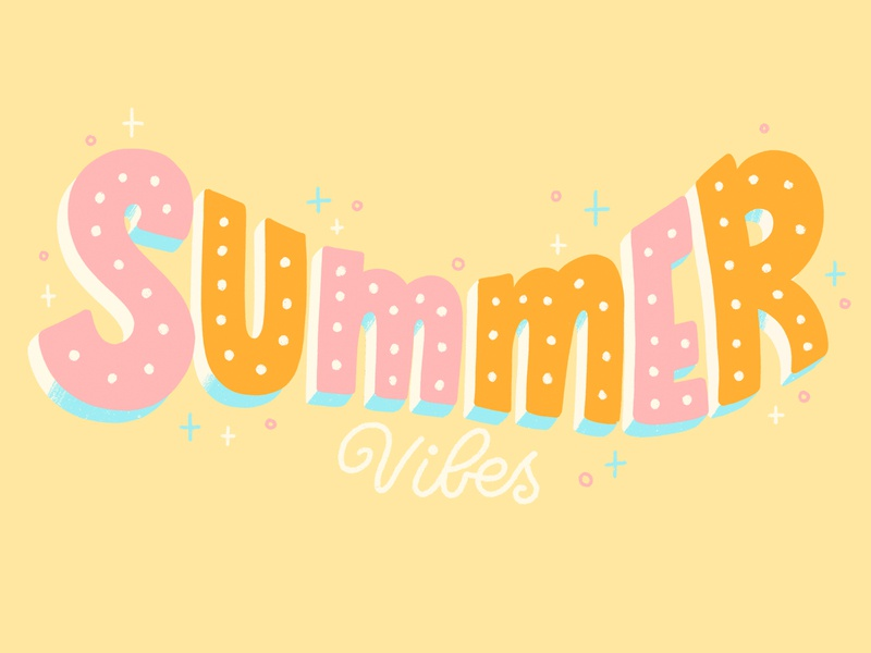 Summer Vibes summer giphy gif hand lettered brush type illustrator hand drawn letter calligraphy hand lettering type design lettering illustration typography