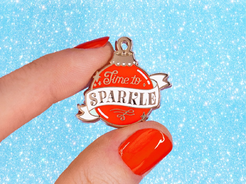 time to sparkle illustration design typography ornaments sparkly gold enamel pins pin enamel pin decorations holiday holidays christmas xmas ornament sparkles sparkle
