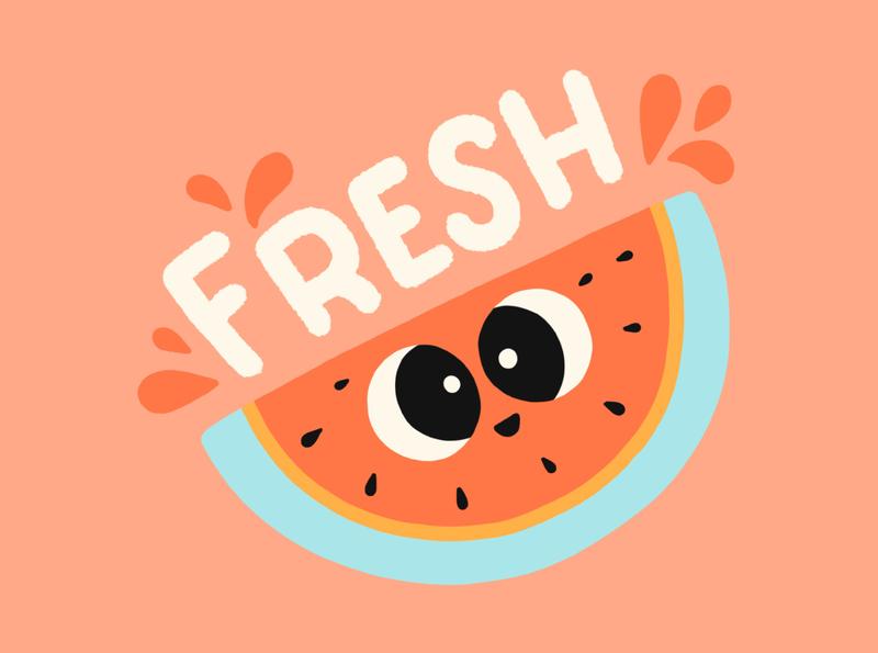 fresh brush type hand drawn letter hand lettering lettering illustration vector typography fruit juicy sticker watermelon fresh