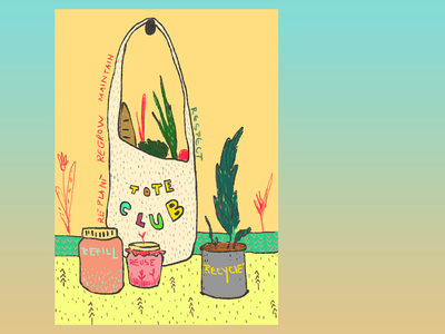 Re Re totebag plant regrow refill reuse sustainable recycle creative design photoshop concept art digitalart art illustration