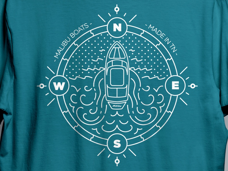 Boat Illustration branding and identity waves sun surf malibu branding shirt illustrator boat