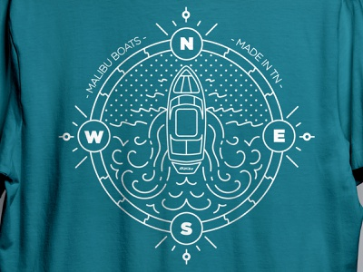 Boat Illustration branding and identity waves sun surf malibu branding shirt illustrator boat