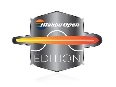 Malibu Open Edition logo illustration sunset malibu waterski boat
