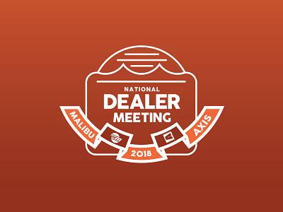 National Dealer Meeting Logo wake surf boat sunset icon logo axis malibu illustration