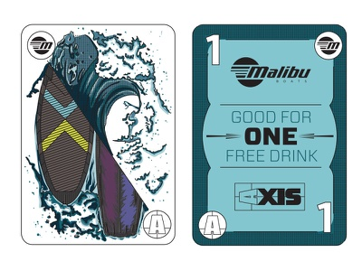 Playing Card Drink Token - One Free Drink Please!! Part 2 icons sunset malibu cards waves surf vector illustration