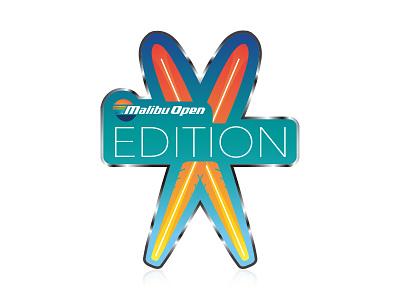 Malibu Open Edition Emblem - 2 icons sunset malibu emblem waves surf vector illustration