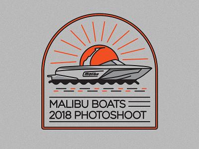 Photoshoot Patch Logo design vector sunset waves surf malibu illustration patch line art