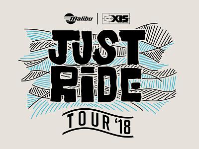 Just Ride Tour- Towboat Tour sunset waves design typography boating lines logo vector surf illustration malibu