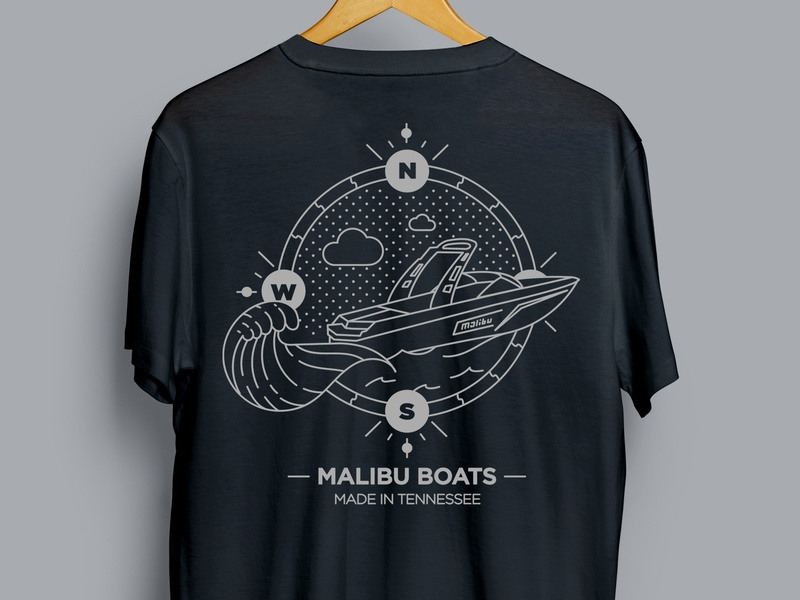 Malibu Boats Gear Store Design vector illustrator illustration t-shirt design t-shirt print apparel logo design branding design branding apparel design apparel