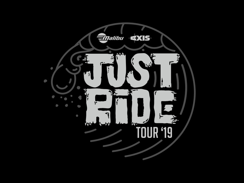 Just Ride Tour 2019 Logo lines typography design emblem waves surf malibu branding and identity branding logo illustrator