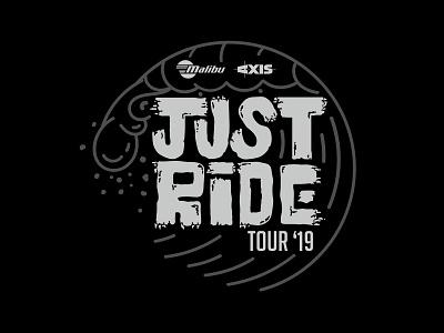 Just Ride Tour 2019 Logo lines typography design emblem waves surf malibu branding and identity branding logo illustrator
