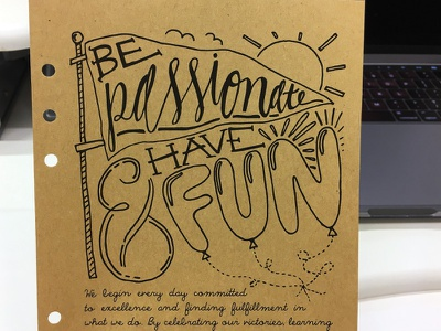 Be Passionate & Have Fun ampersand balloon pennant craft paper passionate fun hand drawn illustration