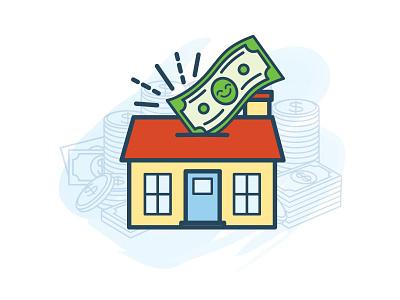 Home Savings Account personification watercolor smiley money savings home illustration illo icon