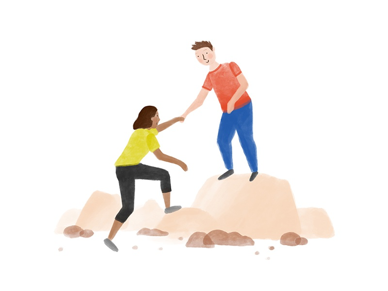 Helping Hand painting digital procreate hiking hand drawn illustration