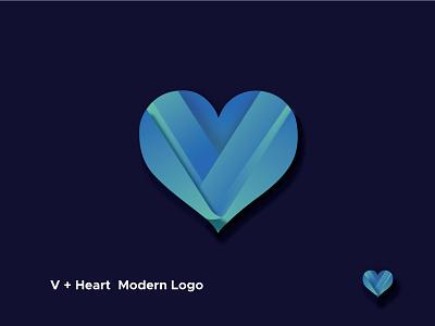 V + Heart Modern Logo logo illustration design modern logo minimalist logo logo design company logo business logo brand identity