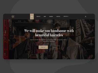 Barbershop Landing Page - Hero Section ui ux hairstly haircut beauty shop web page website landing page salon ui