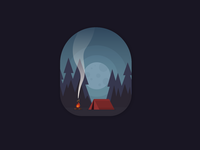 Forest camping at Night - Dark version
