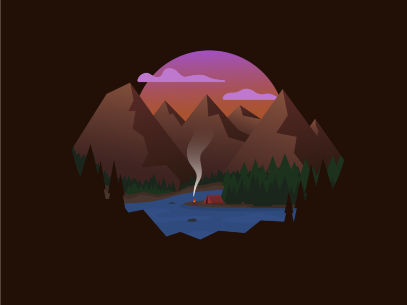 Sunset Camping simple minimal mountain lakeside lake adventure hiking bbq smoke fire sunset mountains illustration design illustration natural nature tent camping camp