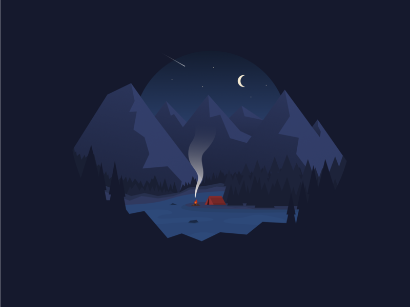 Camping Night by the Lake minimal simple illustration design illustration bbq smoke fire mountains peaceful peace night adventure tent camping mountain forest natural nature lake camp