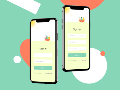 Farm Market Sign In & Sign Up signup screen login screen sign in screen market app ux ui mobile app design mobile farm farmers market design app
