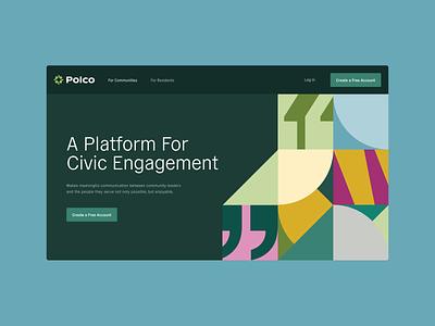 Polco Site civics compass policy politics identitydesign brand design logo brand ux ui