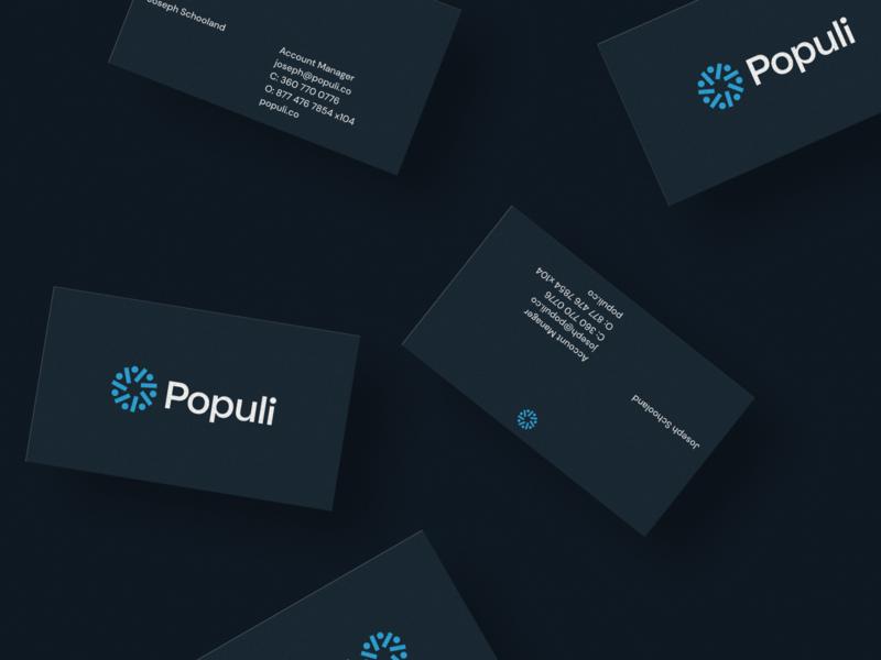 Populi Business Cards figma designs brand lockup logotype logo business card design