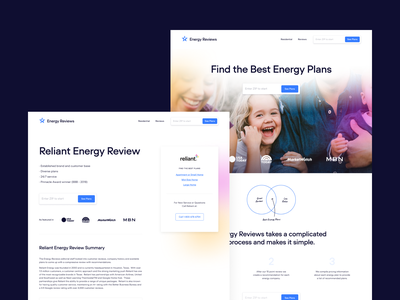 Energy Reviews Site gradient lightning bolt reviews energy landing page website web design ux uiux ui