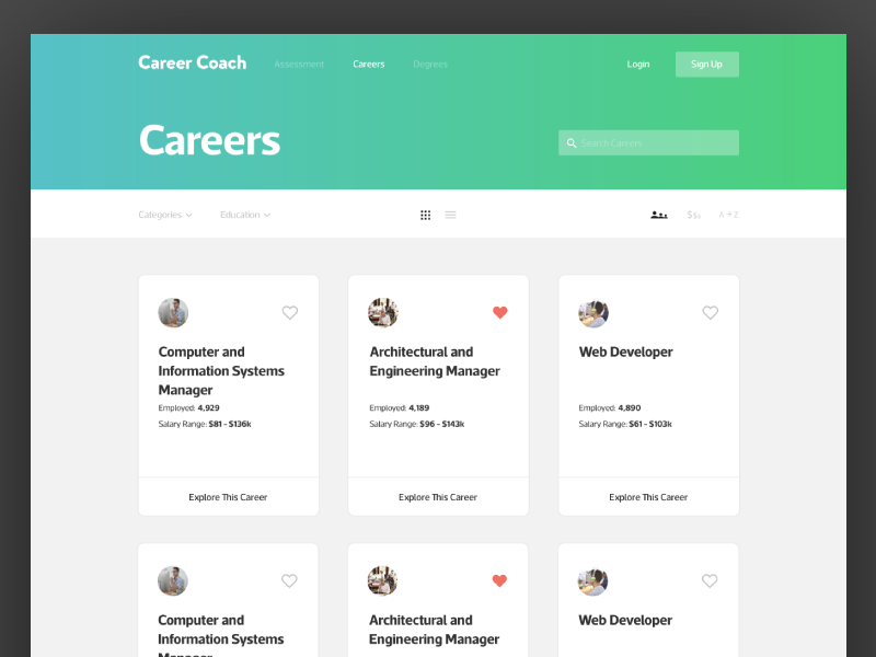 Cc career grid dribbble
