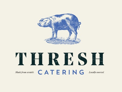 Thresh Catering Brand jt grauke cooking food catering agriculture farming line drawing pig branding