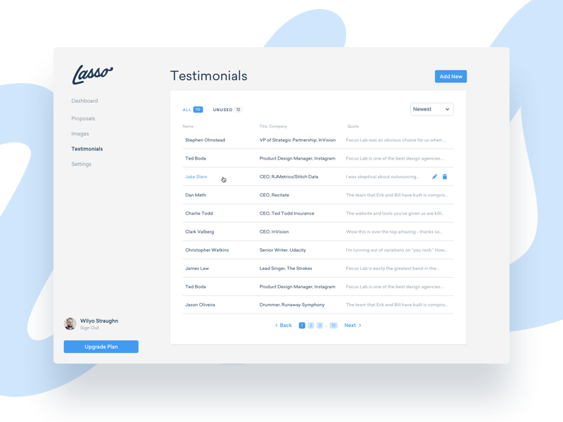 Lasso Testimonials pagination focus lab app design app table list proposal lasso ux ui