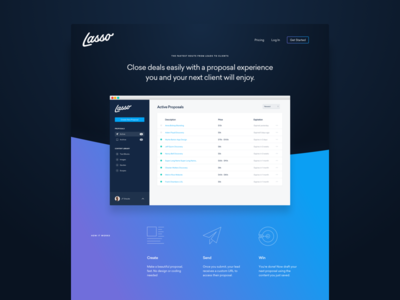 Lasso Home grid column icons curve app gradient focus lab home page landing marketing ux ui