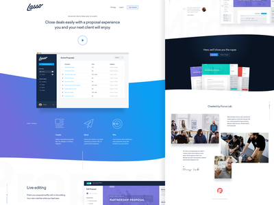 Lasso Home Page Iteration vertical text grid overlap drop shadow minimal whitespace gradient landing page home page lasso ux ui