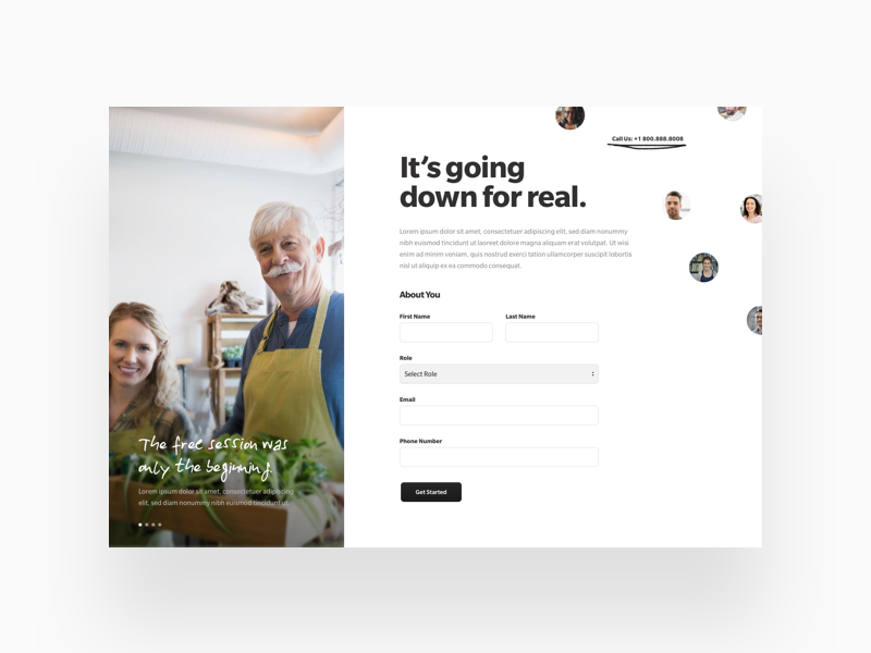 Sign Up Flow avatars carousel testimonial hand drawn form social proof landing page ux ui