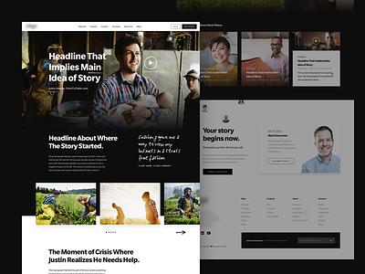 Client Stories footer header card grid carousel hero slate dark mode landing page web design ux ui