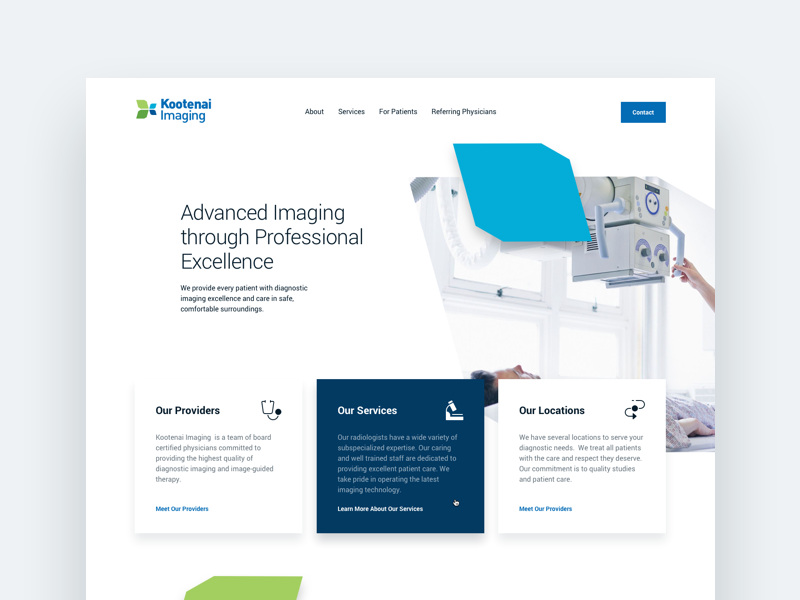 Radiology Website brand system whitespace clean marketing web website health care health radiology landing page ux ui